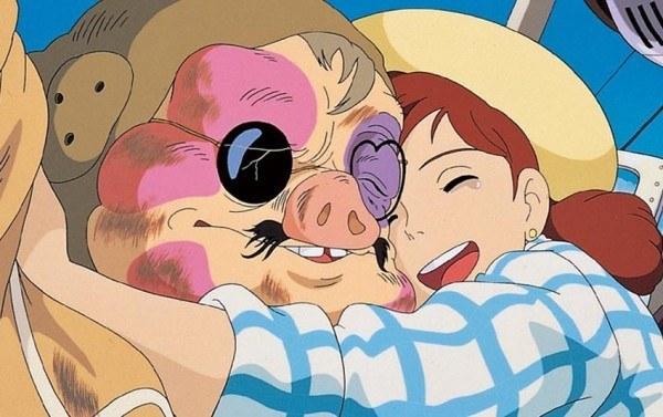 紅の豚満身創痍のポルコに抱きつくフィオ